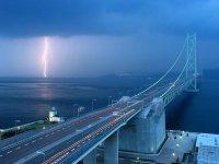闪电与斜拉桥共存